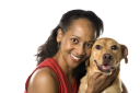 African American prime adult female with dog.