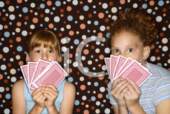 Royalty Free Photo of Children Holding Cards