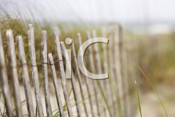 Royalty Free Photo of a Weathered Wooden Fence on a Sand Dune