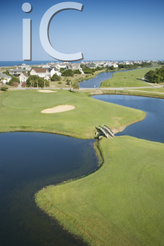Royalty Free Photo of an Aerial View of a Golf Course in Coastal Residential Community at Bald Head Island, North Carolina