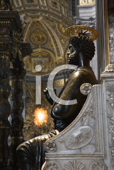 Royalty Free Photo of a Saint Peter Enthroned Statue in Saint Peter's Basilica, Rome, Italy