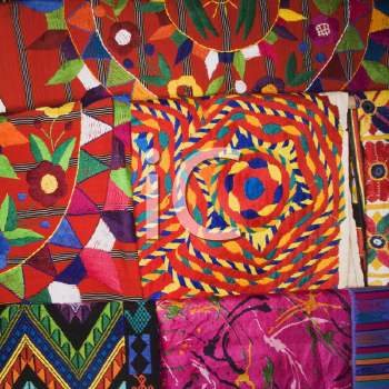 Royalty Free Photo of a Close-Up of Colorful Tapestries