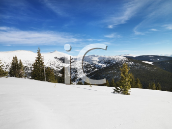 Royalty Free Photo of a Snow Covered Mountain Landscape