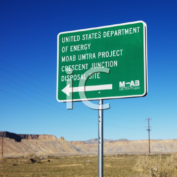 Sign pointing to Disposal site in Utah, USA.