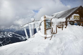 Royalty Free Photo of a Ski Patrol Office at the Top of a Slope in Whistler, Canada