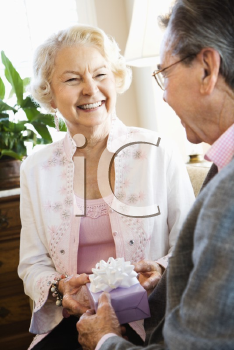 Royalty Free Photo of an Older Man Giving a Present to an Older Woman
