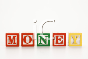 Royalty Free Photo of Alphabet Toy Building Blocks Spelling The Word Money