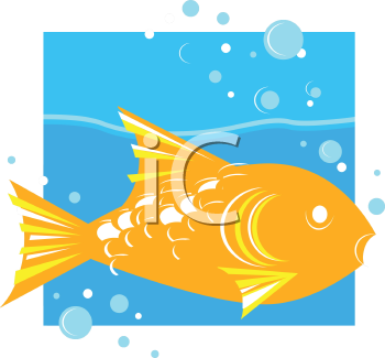 Royalty Free Clipart Image of a Fish Swimming in Water