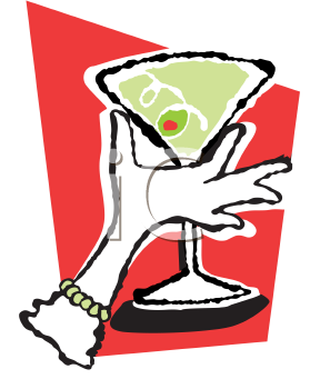 Royalty Free Clipart Image of a Ladies' Hand Holding a Martini Glass