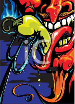 Royalty Free Clipart Image of a Devil Eating a Jalapeno Pepper From His Pitchfork