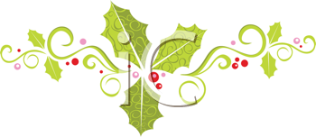Royalty Free Clipart Image of a Holly Banner