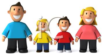 Royalty Free Clipart Image of a Smiling Family