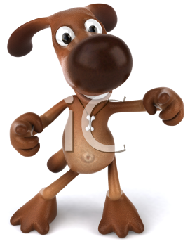 Royalty Free 3d Clipart Image of a Dog Pointing at the Viewer