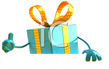 Royalty Free 3d Clipart Image of a Gift Holding a Sign Board