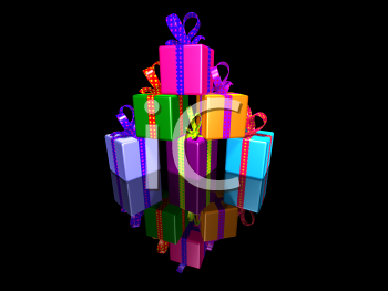 Royalty Free 3d Clipart Image of a Pyramid of Gifts