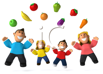 Royalty Free Clipart Image of a Family Juggling Healthy Food