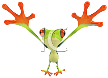 Royalty Free Clipart Image of a Frog With Its Legs Out