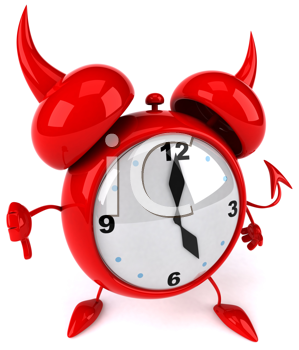 Royalty Free Clipart Image of an Alarm Clock Giving a Thumbs Down