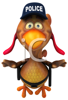Royalty Free Clipart Image of a Chicken Cop