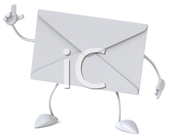 Royalty Free Clipart Image of a Gesturing Envelope