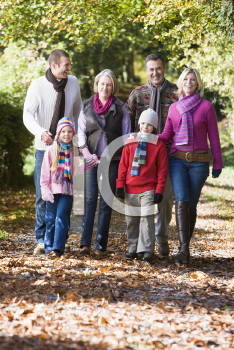 Royalty Free Photo of Three Generations Walking in the Park