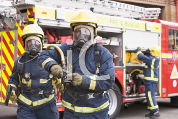 Royalty Free Photo of Firefighters Wearing Masks