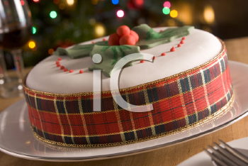 Royalty Free Photo of a Decorated Christmas Fruit Cake