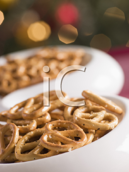 Royalty Free Photo of a Bowl of Pretzels
