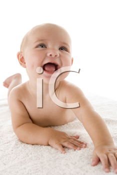 Royalty Free Photo of a Baby Lying on Its Stomach