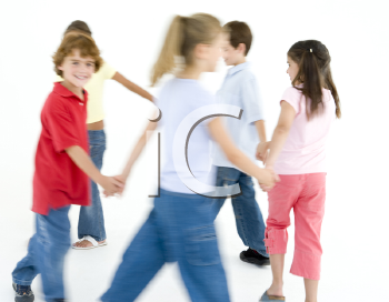 Royalty Free Photo of a Group of Children Playing Ring Around the Rosie