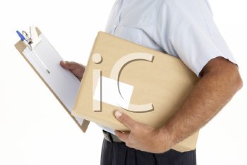Royalty Free Photo of a Courier With a Parcel and Clipboard