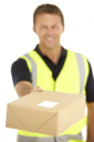 Royalty Free Photo of a Courier With a Parcel
