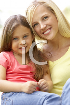 Royalty Free Photo of a Mother and Daughter Outside