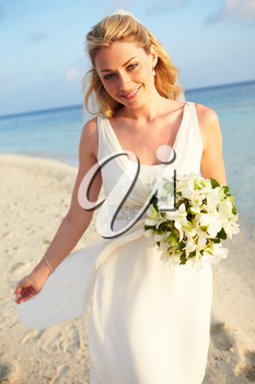 Beautiful Bride Getting Married In Beach Ceremony