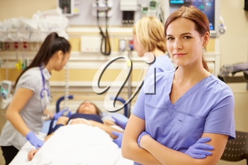 Portrait Of Nurse Working In Emergency Room