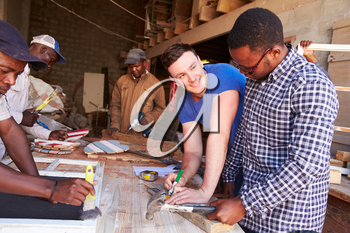 Men at work in a carpentry workshop, South Africa