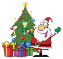 Royalty Free Clipart Image of Santa Sipping Beside A Christmas Tree