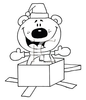 Royalty Free Clipart Image of a Bear in a Box