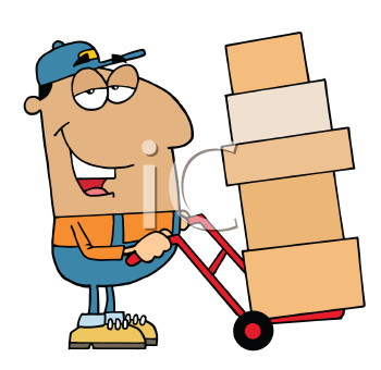 Royalty Free Clipart Image of a Man Moving Boxes on a Dolly