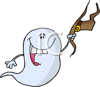 Royalty Free Clipart Image of a Ghost Holding a Witch's Hat
