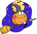 Royalty Free Clipart Image of a Pumpkin Wearing a Witch's Hat Riding a Broomstick