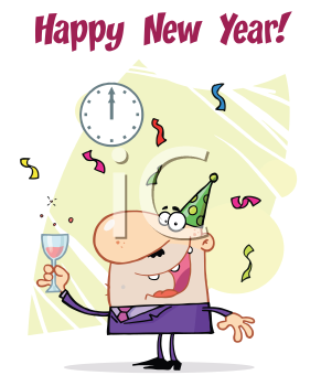 Royalty Free Clipart Image of a Man Ringing in the New Year
