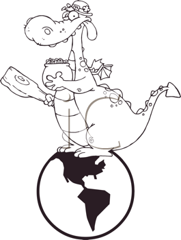 Royalty Free Clipart Image of a Leprechaun Dragon With a Pot of Gold and a Mace Sitting on a Globe