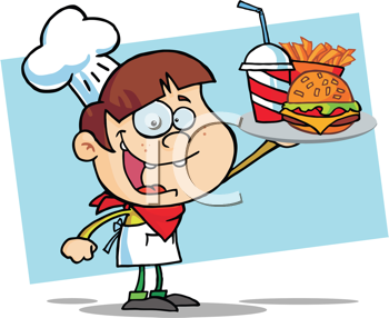 Royalty Free Clipart Image of a Kid Serving Fast Food