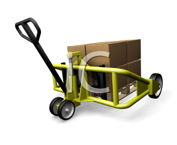 Royalty Free Clipart Image of a Pallet With Stacked Boxes