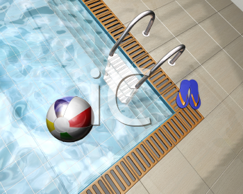 Royalty Free Clipart Image of a Beach in a Ball