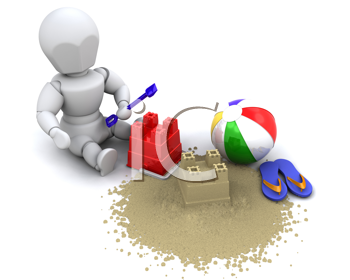 3D render of a man building sandcastle with bucket and spade
