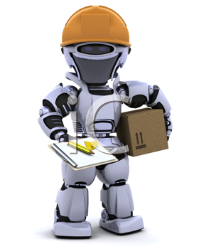 3D render of a robot robot in hardhat with clipboard