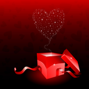 Valentines day gift box with stars coming out of it in the shape of a heart