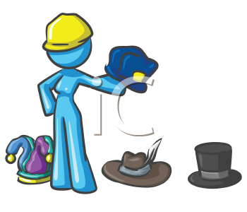 Royalty Free Clipart Image of a Woman Wearing Many Hats